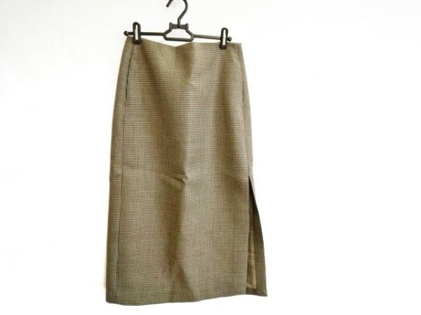 オーラリー ロングスカート サイズ1 S レディース ベージュ×ダークブラウン 千鳥格子