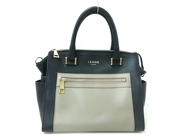 IANNE(イアンヌ) ハンドバッグ美品  黒×グレー レザー