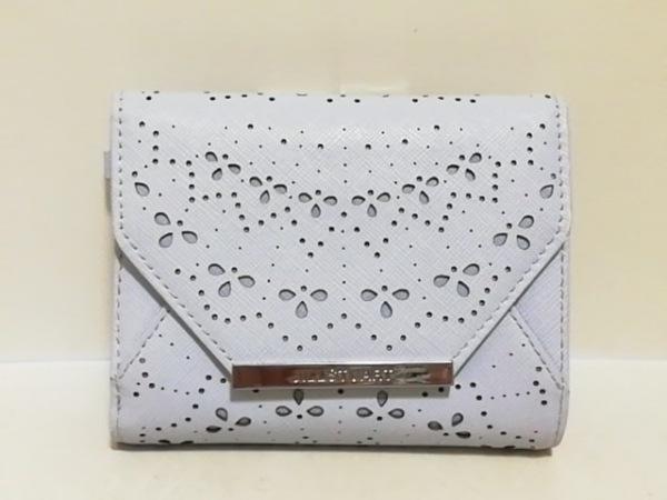 ジルスチュアート 3つ折り財布美品  ライトブルー パンチング/がま口 レザー