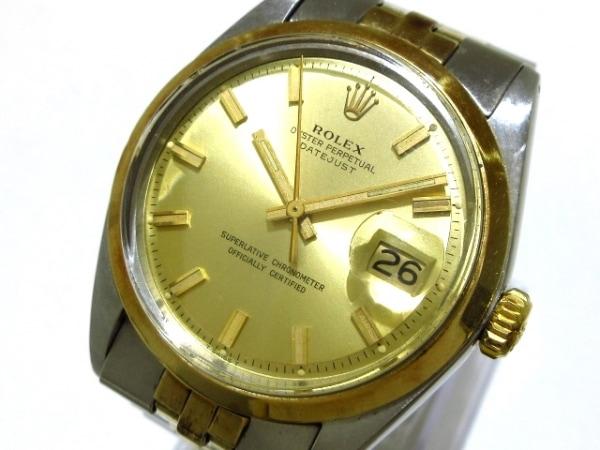 ロレックス 腕時計 デイトジャスト 1600 メンズ K18YG×SS/プラ風防/18コマ ゴールド