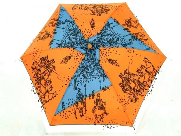 マニプリ 折りたたみ傘美品  オレンジ×ブルー×マルチ ナイロン×金属素材×ウッド