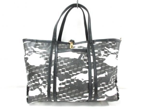 ピエールアルディ ハンドバッグ 黒×白×マルチ PVC(塩化ビニール)×レザー