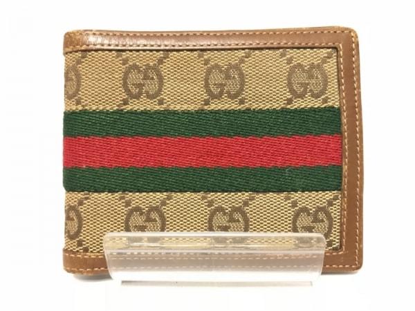 GUCCI(グッチ) 2つ折り財布 GG柄 - カーキ×レッド×グリーン ジャガード×レザー