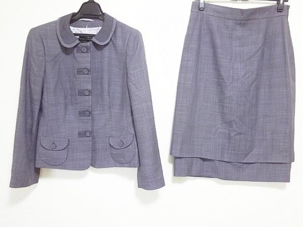 レナランゲ スカートスーツ サイズ42 L レディース パープル×ダークグレー