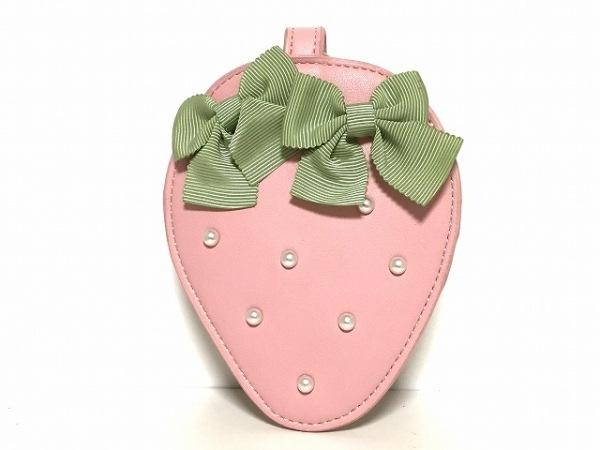 メゾンドフルール パスケース ピンク×グリーン いちご/リボン/フェイクパール 合皮