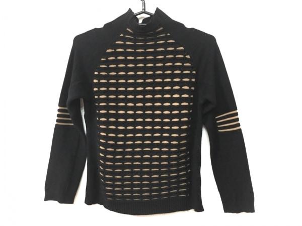 リコヒロコビス 長袖セーター サイズ9 M レディース美品  黒×ベージュ ハイネック