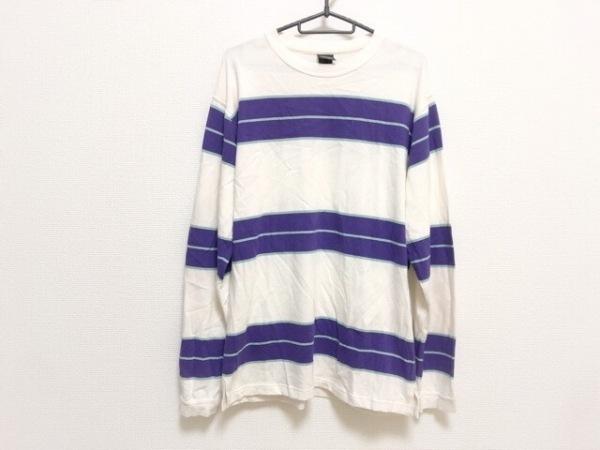 マナスタッシュ 長袖Tシャツ サイズL メンズ美品  白×パープル×ライトグリーン