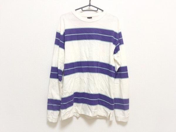 マナスタッシュ 長袖Tシャツ サイズL メンズ 白×パープル×マルチ ボーダー