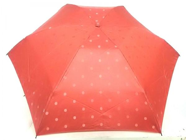 Afternoon Tea(アフタヌーンティー) 折りたたみ傘美品  レッド ドット柄 化学繊維