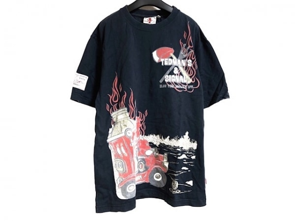 TEDMAN(テッドマン) 半袖Tシャツ サイズ42 L メンズ ダークネイビー×レッド×マルチ