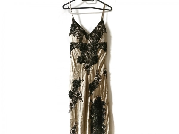 SUEWONG(スーウォン) ドレス サイズ4 XL レディース美品  ベージュ×黒 レース/ビーズ