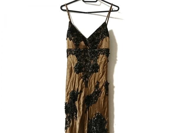 スーウォン ドレス サイズ4 XL レディース美品  ダークブラウン×黒×ゴールド