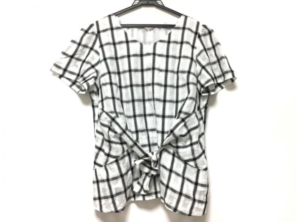 ローズティアラ 半袖カットソー サイズ42 L レディース 白×黒 チェック柄