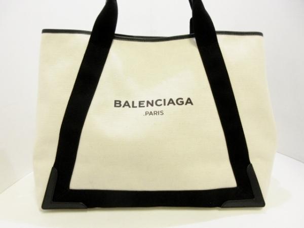 バレンシアガ トートバッグ ネイビーカバM 339936 白×黒 キャンバス×レザー