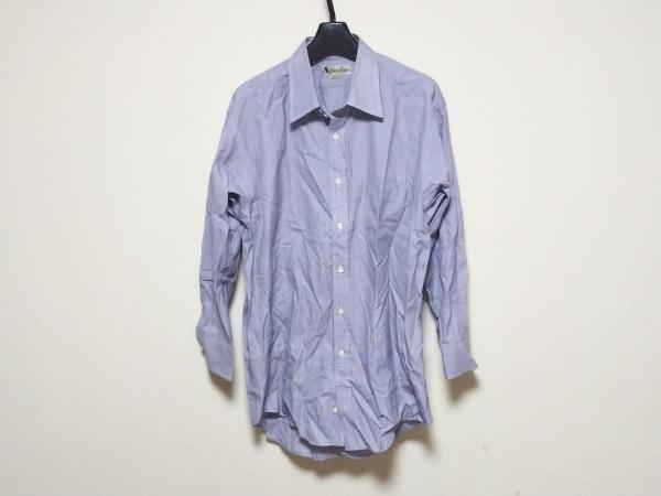 アクアスキュータム 長袖シャツ メンズ美品  白×ネイビー×レッド ストライプ