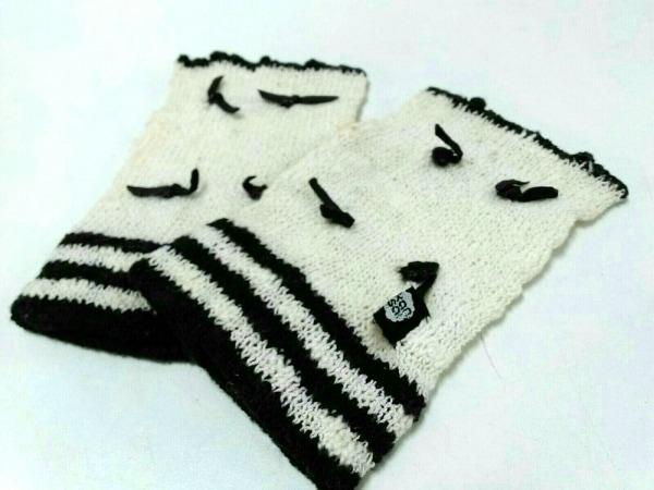 kansai(カンサイ) 手袋 レディース アイボリー×黒 リボン ウール
