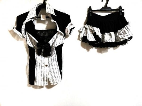 マーズ スカートセットアップ レディース美品  黒×白 レース/ストライプ/リボン
