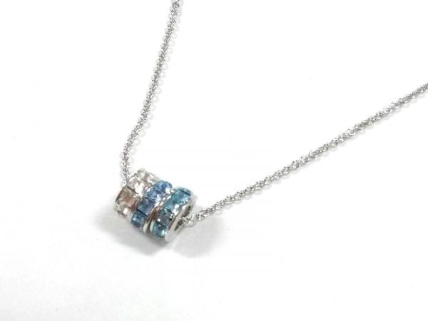 グロッセ ネックレス美品  金属素材×ラインストーン シルバー×ライトブルー×マルチ