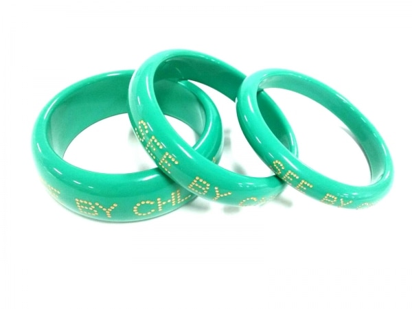 SEE BY CHLOE(シーバイクロエ) バングル美品  プラスチック グリーン×ゴールド 3連
