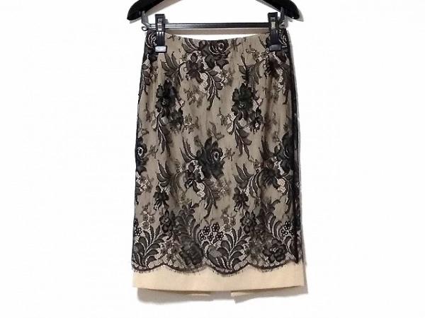 パオラ フラーニ スカート サイズ40(I) M レディース 黒×ベージュ レース/花柄