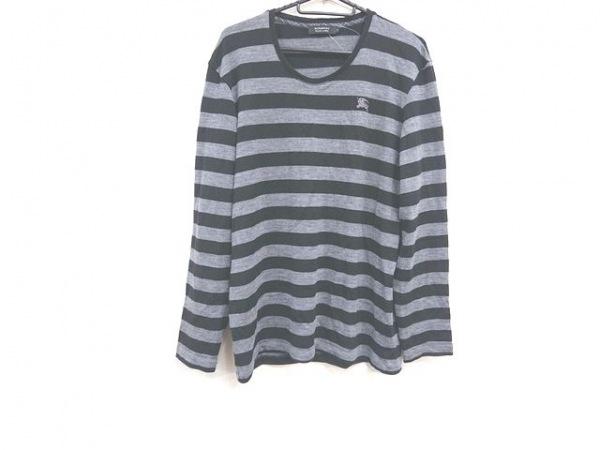 バーバリーブラックレーベル 長袖セーター サイズ3 L メンズ美品  グレー×黒