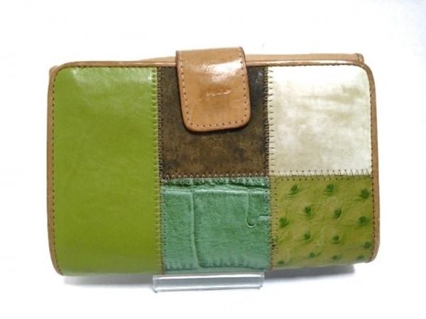 ミオ・ミラノ 2つ折り財布 ダークグリーン×ライトグリーン×マルチ レザー×化学繊維