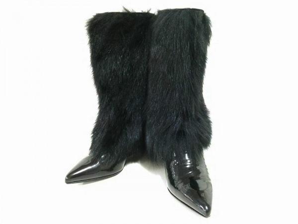 ジュゼッペザノッティ ブーツ 35 レディース美品  黒 エナメル(レザー)×ファー