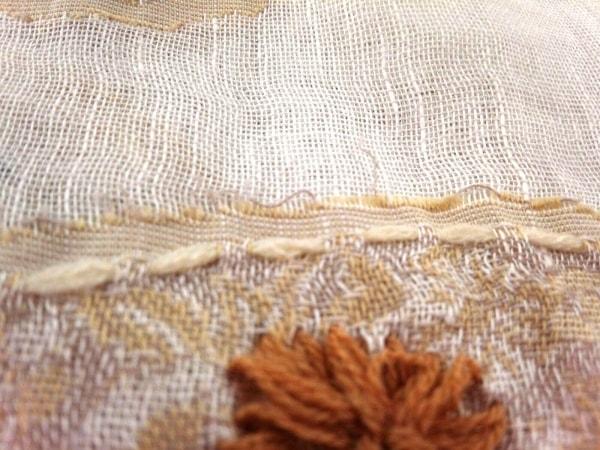 UNGRID(アングリッド) ストール(ショール) ベージュ×アイボリー×マルチ 刺繍/ビーズ