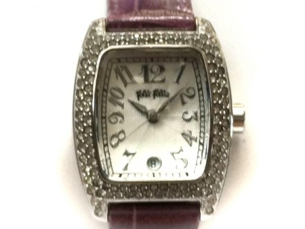 フォリフォリ 腕時計 - レディース 革ベルト/型押し加工/ラインストーンベゼル
