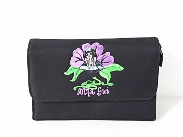 ANNA SUI(アナスイ) ポーチ 黒 刺繍/ミラー付き ナイロン