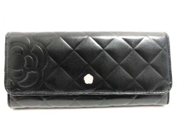 CLATHAS(クレイサス) 長財布 黒 型押し加工/がま口 レザー