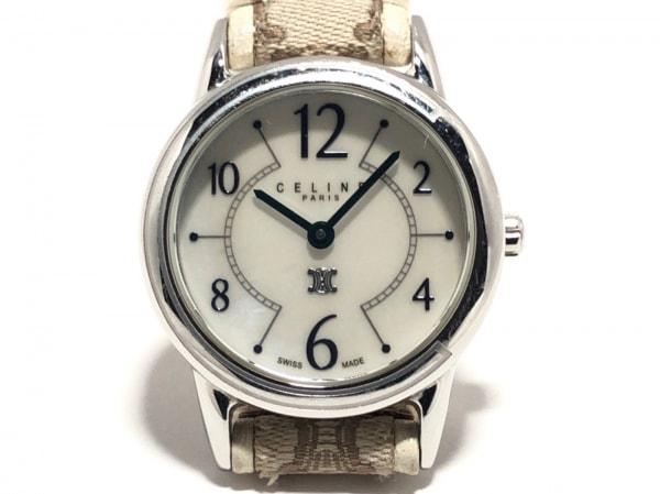 セリーヌ 腕時計 - レディース ジャガード×革ベルト/マカダム柄/シェル文字盤 白