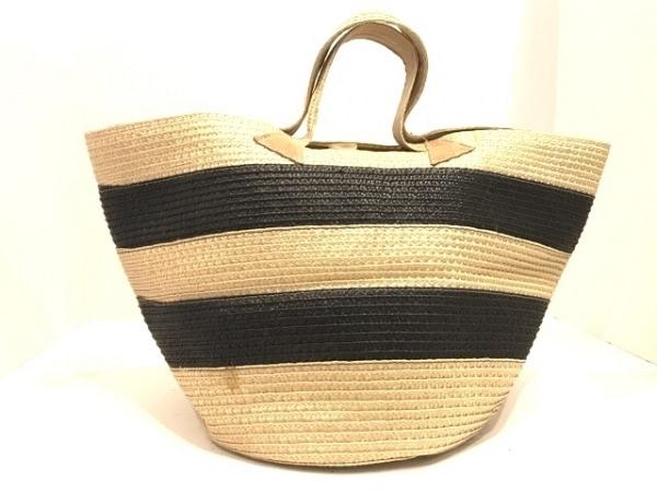 カテリナベルティーニ トートバッグ美品  アイボリー×黒×ライトブラウン かごバッグ
