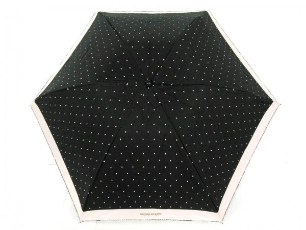 SONIARYKIEL(ソニアリキエル) 折りたたみ傘美品  黒×ベージュ ドット柄 化学繊維