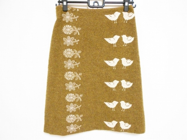ミナペルホネン スカート サイズ36 S レディース ブラウン×白 刺繍