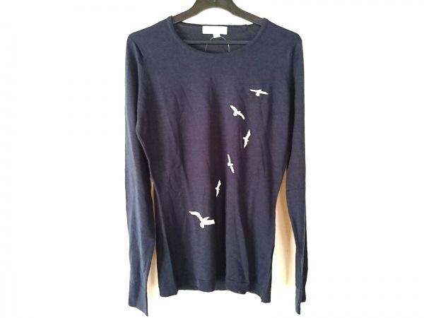 ジョンスメドレー 長袖セーター サイズS レディース美品  ダークネイビー×白