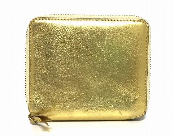 COMMEdesGARCONS(コムデギャルソン) 2つ折り財布 ゴールド ラウンドファスナー レザー