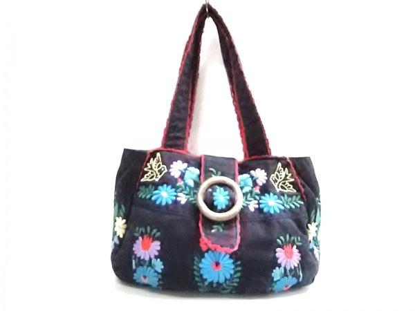ハニーサロンバイフォピッシュ トートバッグ 黒×レッド×マルチ 花柄/刺繍 コットン