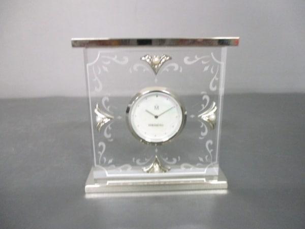 ミキモト 小物 クリア×シルバー 置時計(動作確認できず) ガラス×金属素材×パール