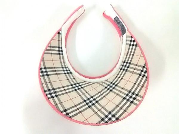 BURBERRYGOLF(バーバリーゴルフ) サンバイザー美品  ピンク コットン
