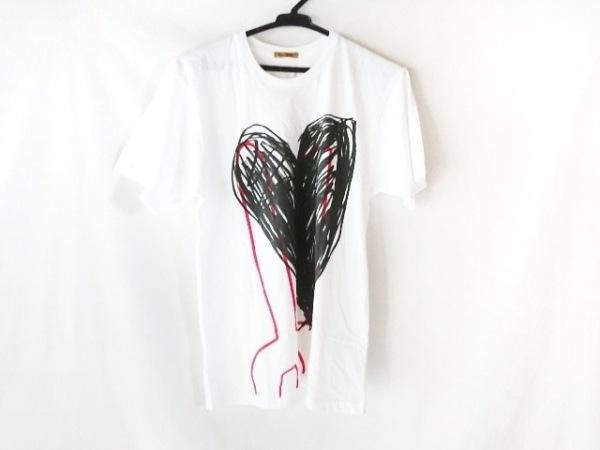 ピーターイェンセン 半袖Tシャツ サイズM レディース 白×黒×レッド ハート