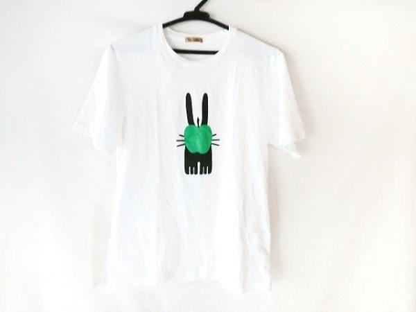 PETER JENSEN(ピーターイェンセン) 半袖Tシャツ レディース 白×黒×グリーン