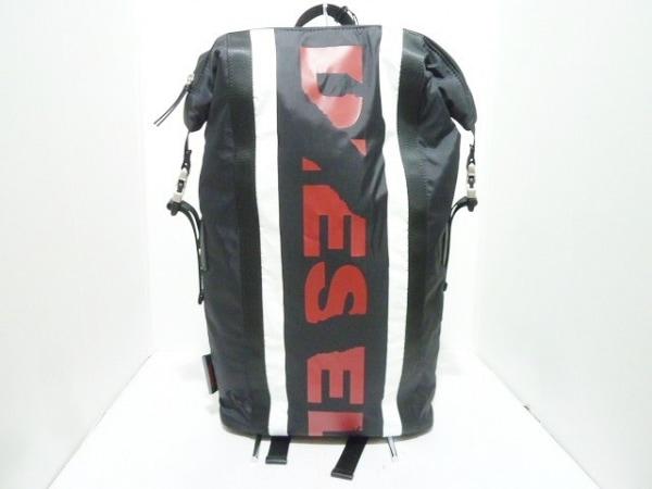 DIESEL(ディーゼル) リュックサック美品  黒×白×レッド ナイロン×化学繊維