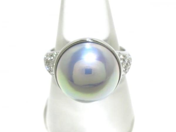 タサキシンジュ リング美品  K18WG×パール×ダイヤモンド グレー 0.23カラット