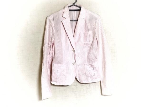 ラルフローレン ジャケット サイズ9 M レディース新品同様  白×ピンク ストライプ