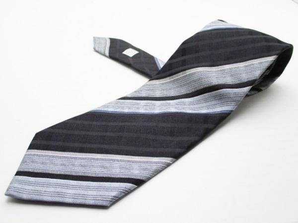 ジョルジオアルマーニ ネクタイ メンズ美品  黒×ライトグレー×ネイビー