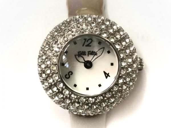 フォリフォリ 腕時計 WF0A055SP レディース ラインストーン/シェル文字盤 白