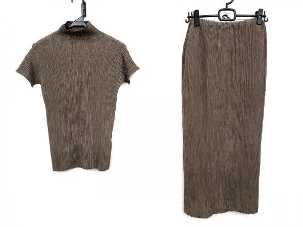 ヒロコビス スカートセットアップ サイズ6 M レディース美品  ダークブラウン
