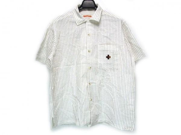 カステルバジャックスポーツ 半袖シャツ サイズ3 L メンズ ストライプ/刺繍