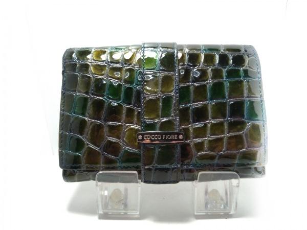 コッコフィオーレ 2つ折り財布 カーキ×グリーン 型押し加工 エナメル(レザー)
